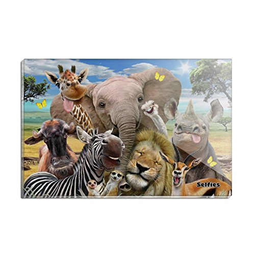 Animals Rectangle Magnet - Africa Animals Selfie Giraffe Elephant Lion Zebra Rectangle Acrylic Fridge Refrigerator Magnet