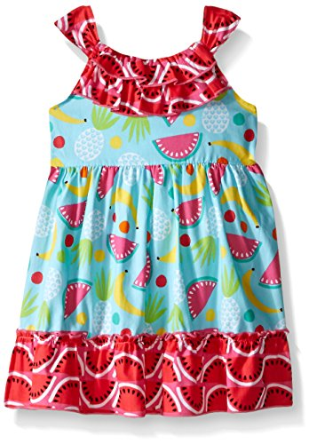 Youngland Baby Girls' Multi-Colored Poplin Fruit Salad Dress, Turquoise/Multi, 12 Months