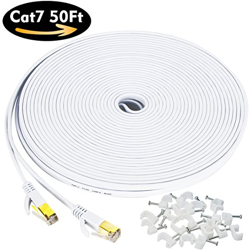 Cat7 Flat Ethernet Cable, [50 FT]10 Gigabit High Speed Shielded (SSTP) Computer network Cord with Gold Plated Snagless Rj45 Connectors for Xbox, PS4, Modem, Router, Networking switch, ADSL - Mens Boot Conductor