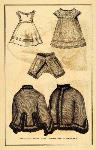 Sack Apron (1871 Print Victorian Fashion Children Dress Blouse Apron Drawers Velvet Sack - Original Halftone Print)