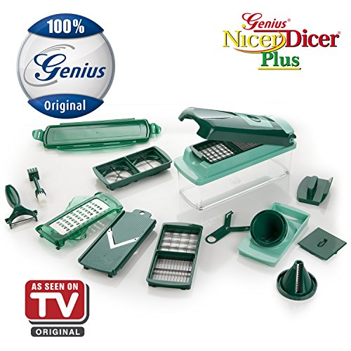 nicer dicer plus spiral slicer by genius 17 pieces emeraldgreen frui ebay. Black Bedroom Furniture Sets. Home Design Ideas