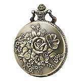 Morfong Pocket Watch Vintage Steampunk Flower Pattern Fob Quartz Watch for Men Women