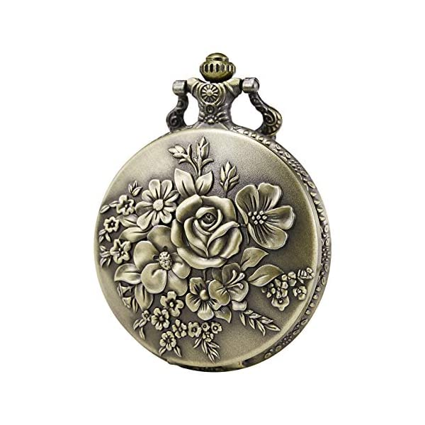 Morfong Pocket Watch Vintage Steampunk Flower Pattern Fob Quartz Watch for Men Women