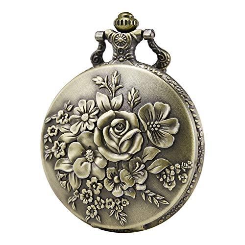 Morfong Pocket Watch Vintage Steampunk Flower Pattern Fob Quartz Watch for Men ()