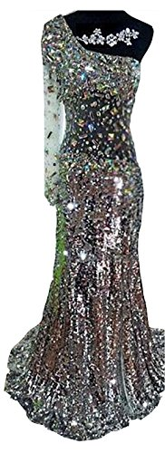 One Damen Ballkleid Silber Pailletten Banquet Shoulder Diamant emmani q15xFw6q