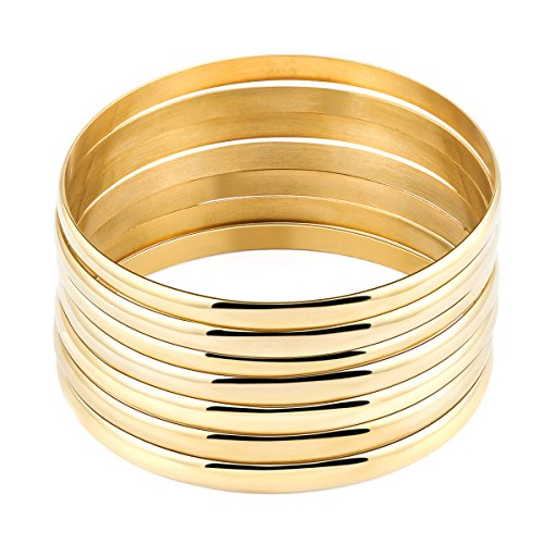 Faenlior 18k Gold Plated Stackable Bangle Bracelet Set of 7 Pieces Charm Jewelry Accessories for (14k 18k Charm Bracelet)