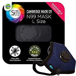 Dettol Cambridge N99 Mask for Protection from Virus, Bacteria, Pollution – Reusable, Washable, with Breathing Valve (Blue, Large)