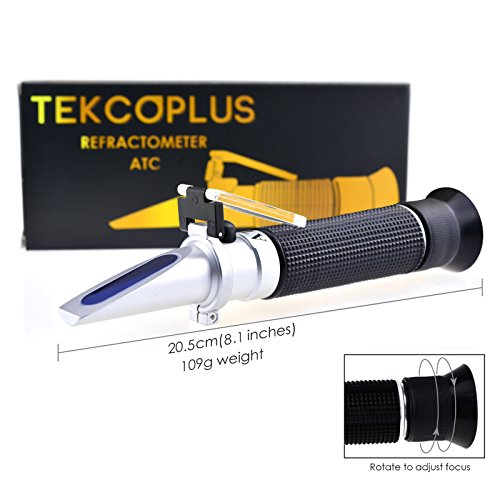 Optics Alcohol Refractometer 0-80% Volume Percent ATC, for Alcohol Liquor Production, Spirit Alcohol Measurement, Ethanol with Water, Distilled Beverages, Winemakers, with Extra LED Light & pipettes by TEKCOPLUS (Image #3)