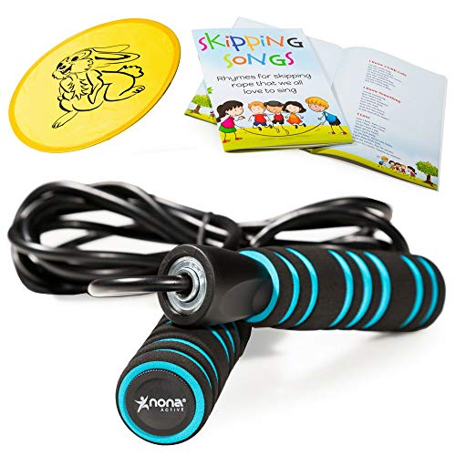 (Nona Active Adjustable Jump Rope Set - for Kids and Adults - with Anti-Slip Handles and Smooth Rotation - Plus Skipping Songbook and Flying Disc - 100%)