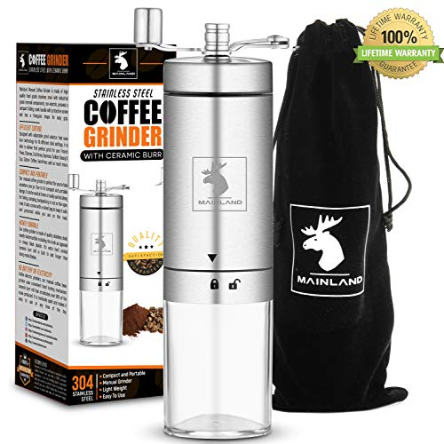 - Manual Coffee Grinder by Mainland (Hand Coffee Grinder) | Portable Conical Burr Mill With Adjustable Setting Fine, Medium, Coarse Grounds | Ceramic Burr Mill for Whole Bean Grinding | Home, Outdoor