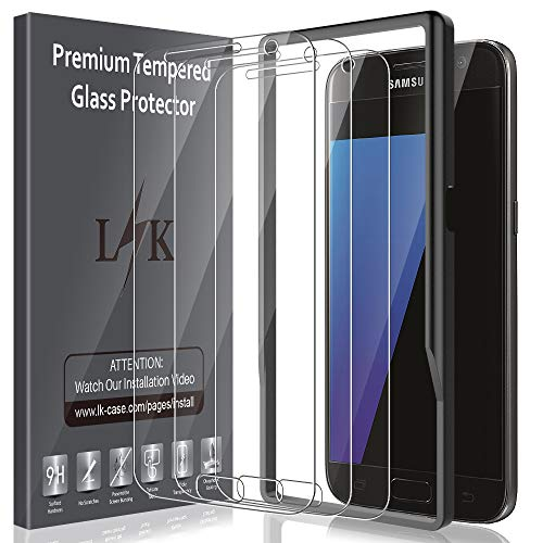 LK [3 Pack] Screen Protector for Samsung Galaxy S7, Tempered Glass [Easy Installation Alignment Frame] [HD Clear] Case Friendly with Lifetime Replacement Warranty