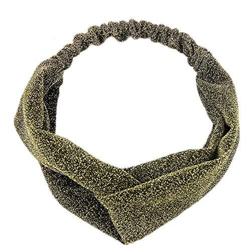 1x Women Gradient Color Twist Cross Hairband Headwrap Yoga Sport Turban Headband (Color - dark gold)