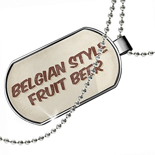 NEONBLOND Dogtag Belgian Style Fruit Beer, Vintage Style Dog Tags Necklace