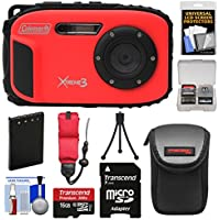 Coleman Xtreme3 C9WP Shock & Waterproof 1080p HD Digital Camera (Red) with 16GB Card + Battery + Case + Tripod + Float Strap + Kit Basic Facts Review Image