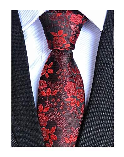 Men's Classic Red Black Novelty Silk Ties Jacquard Woven Dress Business Neckties