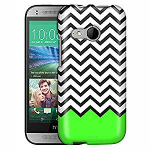 HTC One Remix Case, Slim Fit Snap On Cover by Trek Chevron Black White Green Ribon Case