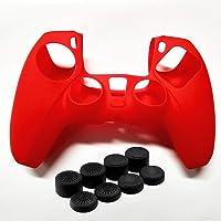 1 Pakket Effen Kleur Siliconen Case voor PS5 Controller Cover Skins Cover + 8 Joystick Cap, Anti-Slip Protector Huid…
