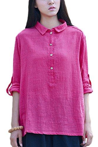 Longues Rose Linge Chemises Coton Manches De T Shirt des Occasionnel Dessus vqdOxwx