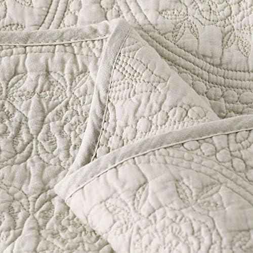 HJTLK Patchwork à la Main Couvre-Lits Jeté 100% Coton Super King Size Quilted Quilt Coverlet Couverture 3 pièces Multifonction All Season Couvre-lit Doux et Confortable