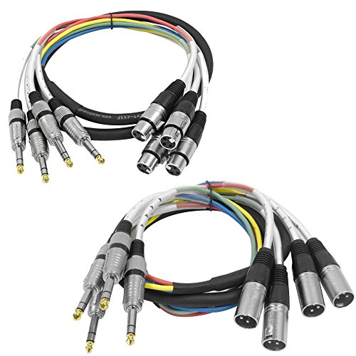 Seismic Audio - SAXT-4x5_MF - 4 Channel 5 Foot 1/4 Inch TRS to XLR Male and XLR Female Snake Cable ()