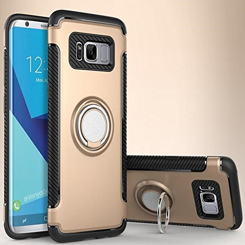 Price comparison product image Galaxy Note 8 Magnetic Car Phone Stand Case, Inspirationc 2 in 1 Shockproof 360 Degree Rotating Ring Stand with Air Vent Magnetic Car Vent Mount Rubber Case for Samsung Galaxy Note 8--Gold
