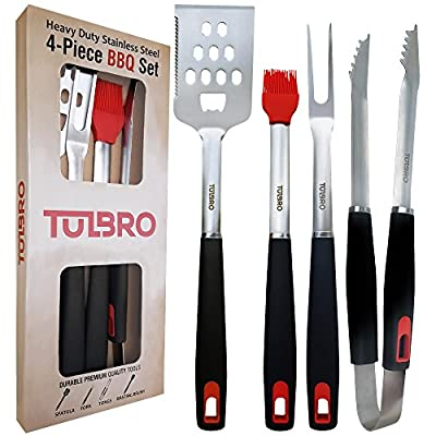 Premium Heavy Duty Grill Set by TULBRO. 4-Piece Stainless Steel Grilling Accessories. Long Spatula, Tongs, Fork, Basting Brush. Sturdy BBQ Tools for Grilling. Barbecue Utensils + Gift Box (USA SELLER)