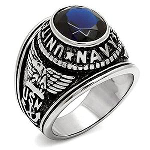 KONOV Mens Cubic Zirconia Stainless Steel Ring, United States Navy Military, Blue, Size ()
