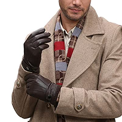 GSG Mens Luxury Touchscreen Spain Nappa Genuine Leather Gloves Driving Hi-tech Texting Motorcycle Winter Wool & Faux Fur Gloves