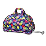 Kids Purple Multi Speckles Geometric Pattern Rolling Duffle Bag Beautiful Friendly Fun Big Dots Print Suitcase, Girls School Duffel with Wheels, Wheeling Luggage, Lightweight Softsided, Fashionable