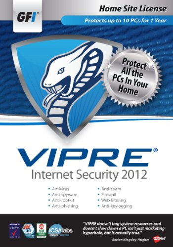 GFI Software VIPRE IS 2012 - Home Site License 1 Year [Old Version] from GFI Software
