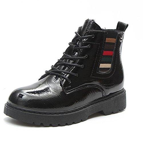 Low Winter ZHZNVX Toe Boots for Boots PU Shoes Burgundy Black Heel Black HSXZ Women's Round Combat Casual gqrwgU8