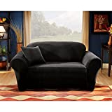 Sure Fit Stretch Pique Knit  - Sofa Slipcover  - Black (SF28407)
