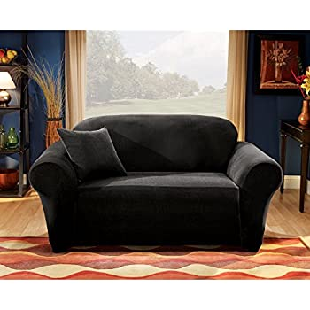 Sure Fit Stretch Pique Knit Sofa Slipcover Black Sf28407
