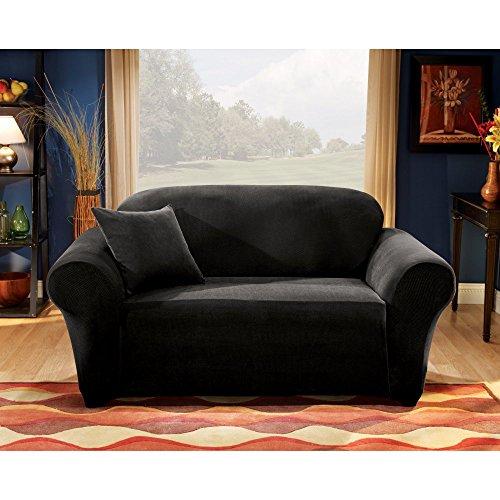 Sure Fit Stretch Pique Knit Sofa Slipcover Black SF