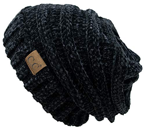Funky Junque H-6100-85006a Oversized Slouchy Beanie - Chenille Black