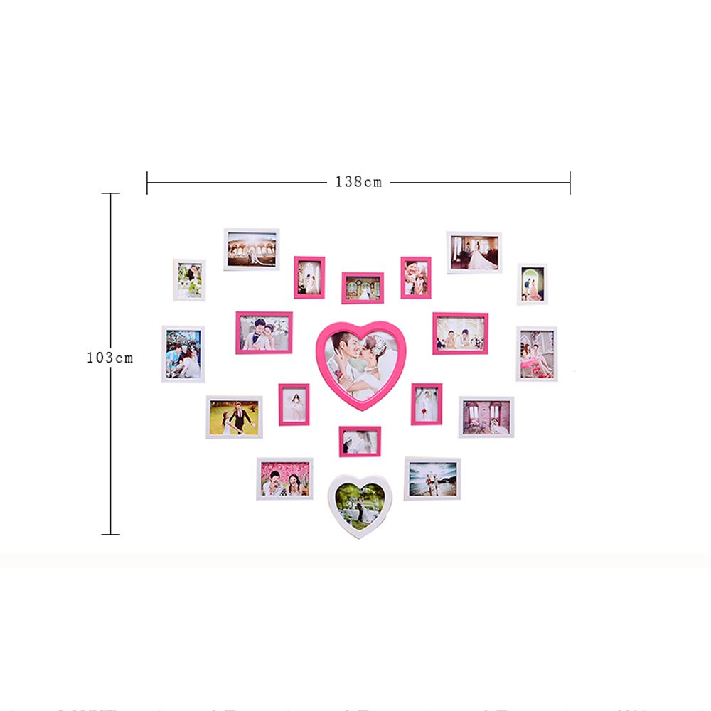 Photo Wall, Creative Living Room Wedding Photo Wall, Love-shaped Children Bedroom Photo Frame Wall Frame Wall Combination ( Color : 1# ) by PM PhotoShop Wall (Image #3)