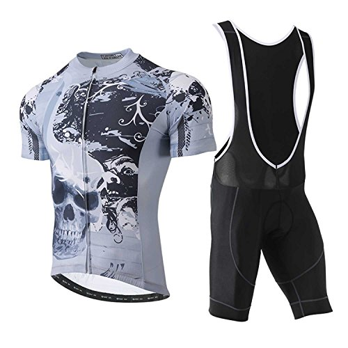 (TeyxoCo 2018 Men Sugar Skull Soul Cycling Jersey Short Sleeve Padded Jersey Bid Set)
