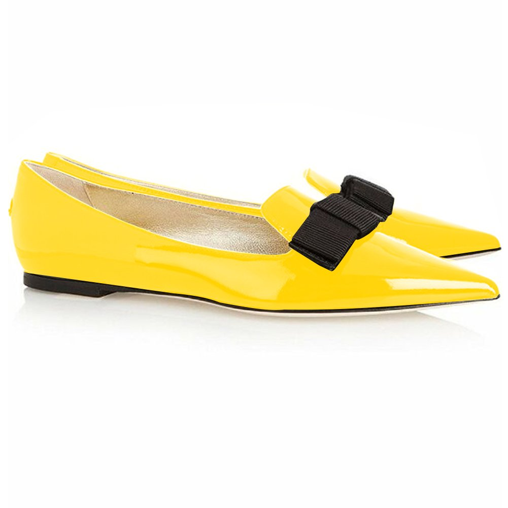 Eldof Women's Flats, Pointed Toe Flats Pumps, Patent Leather Flats Pumps, Walking Dress Office Classic Comfortable Flats B07DHL4KK7 6.5 B(M) US|Yellow