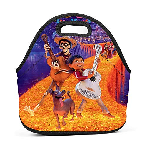 Neoprene Lunch Bag - Removable Shoulder Strap-Large Size Reusable Lunch Handbag, Coco Guitar Pattern Halloween Costumes Tote Waterproof Outdoor Case Lunchbox with Zipper for Womens Mens Boys Girls]()