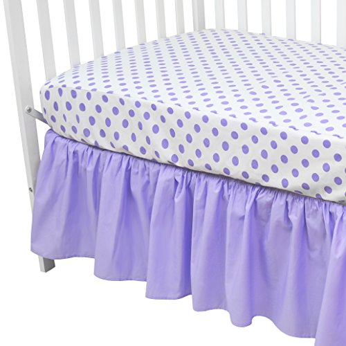 y 100% Cotton Percale Standard Crib and Toddler Mattress Bundle, Lavender Dots Fitted Sheet and Skirt, for Girls ()