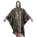 Best Aircee Blankets - Aircee Multi-use Rain Poncho Men Camo Raincoat Women Review