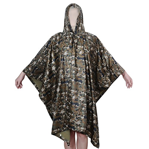 Unisex Rainwear (Aircee TM Camouflage Military Emergency Raincoat Waterproof Poncho Packable Rainwear, Can Be used As a Shelter Tent (Jungle Digital Camo))