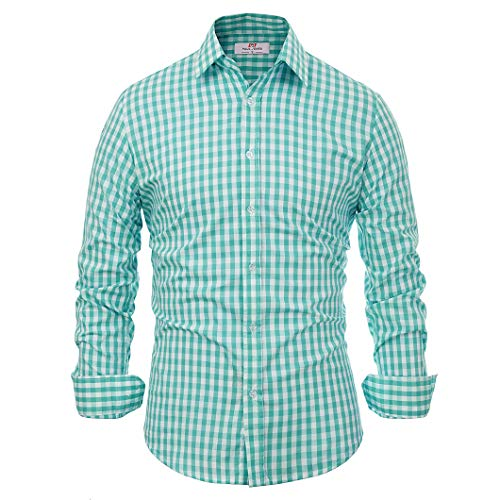 - Casual Formal Dress Shirts for Men Slim Green Plaid (XL) KL-6 CL6299
