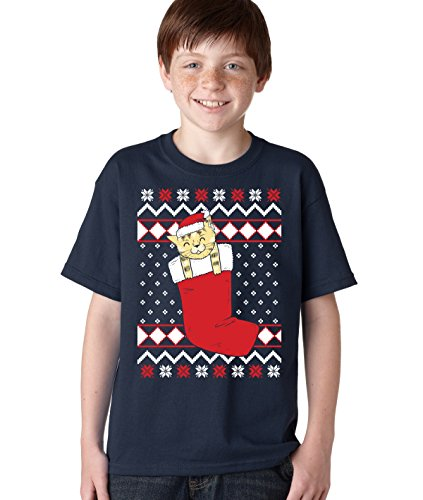 Smiling Cat In Stocking Ugly Christmas T shirt