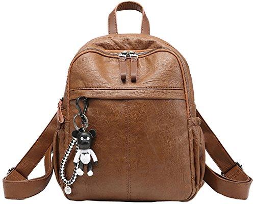 HopeEye Señoras mochila mochila bolsa de viaje de la computadora portátil mochila de gran capacidad a prueba de agua(Rosa) Marrón