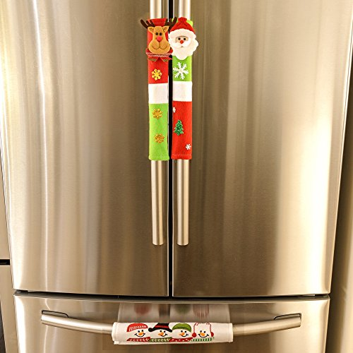 Christmas Handle Cover - 3 Count - Attach To Any Handle - Velcro Wrap - Easy To Attach/Remove - Santa, Reindeer, Snowmen, Xmas Tree, Snow Flake Designs - Fun Xmas With Christmas Decorations For Home - Flair Handles