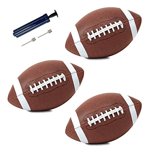 Liberty Imports Pack of 3 Official Size Leather Footballs with Pump and Needles - Ultra Grip Varsity Full Size Premium Game Bulk Football Set for Youth League College High School