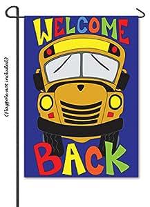 """Autobús escolar Applique bandera de Jardín–13""""x 18""""–2cara mensaje–Magnolia Lane"""