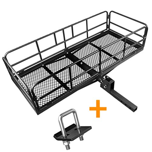 XCAR High Side Folding Hitch Mount Rear Cargo Rack Carrier Luggage Basket 59' L x 24' W x 14'' H with Anti-Rattle Stabilizer Fits 2' Receiver Car SUV Truck - Great for Camping, Road Trip