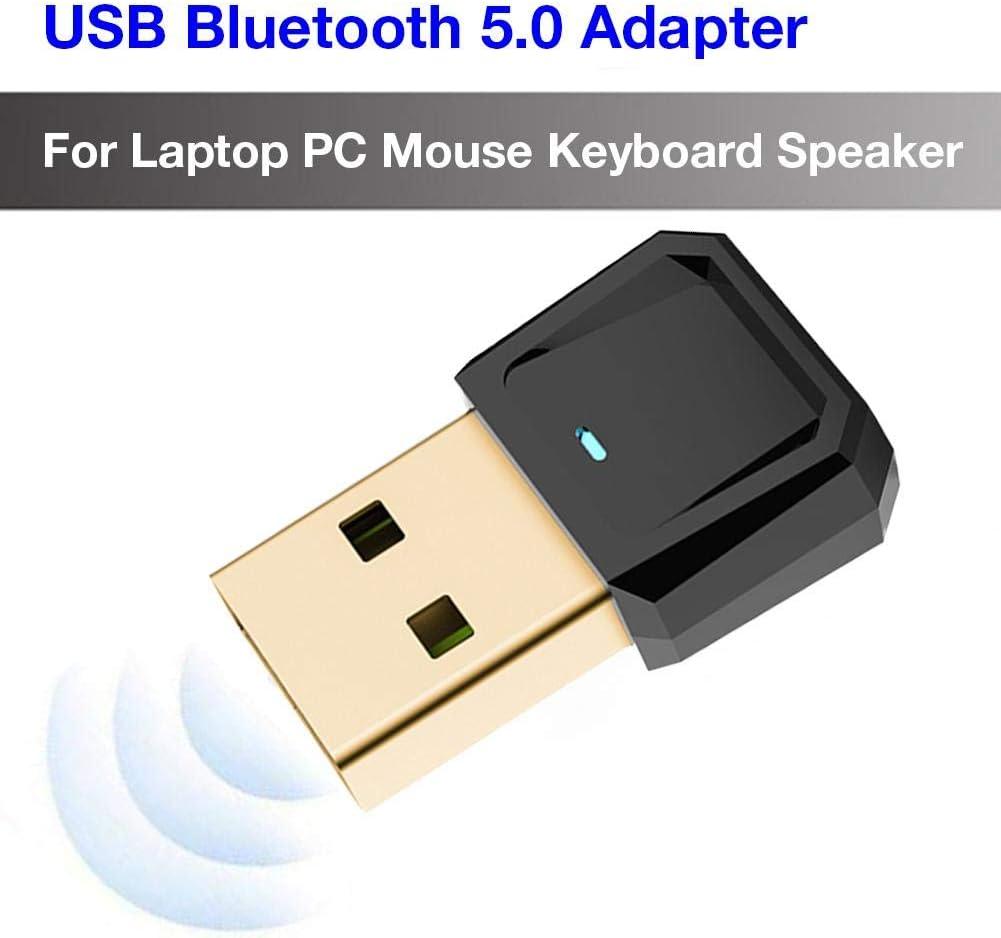 Adaptador USB USB-BT5.0 con receptor Bluetooth Dongle, soporte para computadora portátil y PC, Wlndows 10 Plug And Play / 8/7 / XP, impresoras, teléfonos, auriculares, altavoces, teclados, controlador